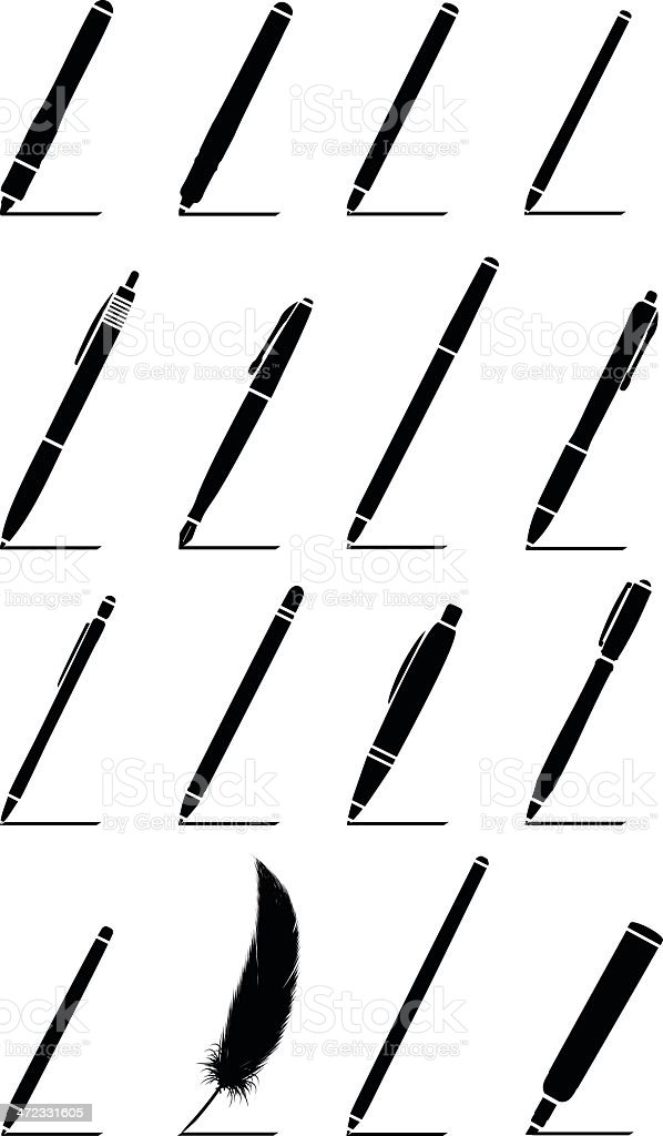Pens Silhouette vector art illustration
