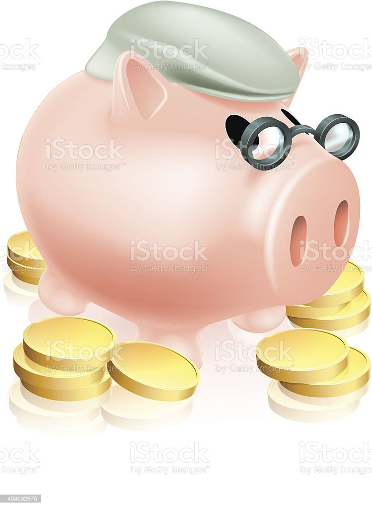 Pension piggy bank with coins royalty-free stock vector art