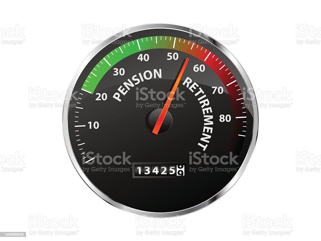 Pension Speedometer vector art illustration