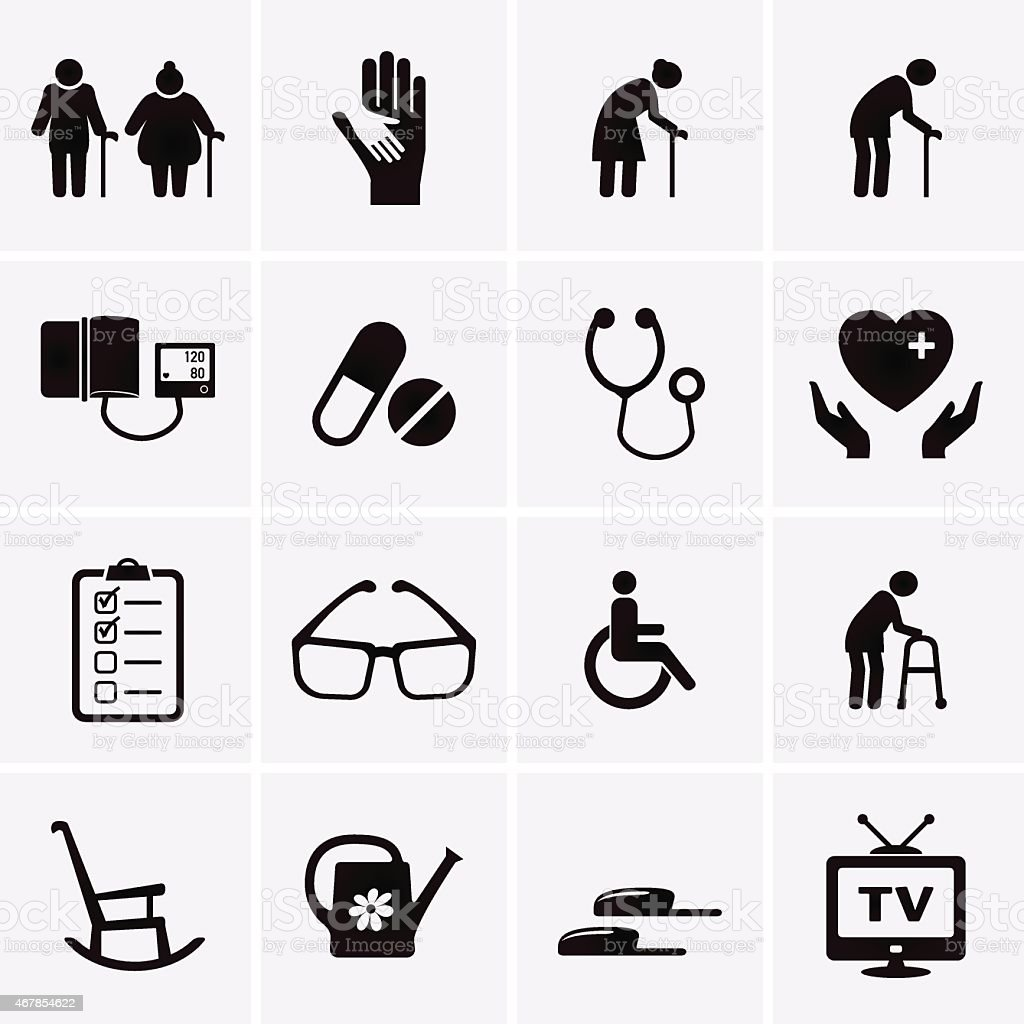Pensioner and Elderly Care Icons vector art illustration