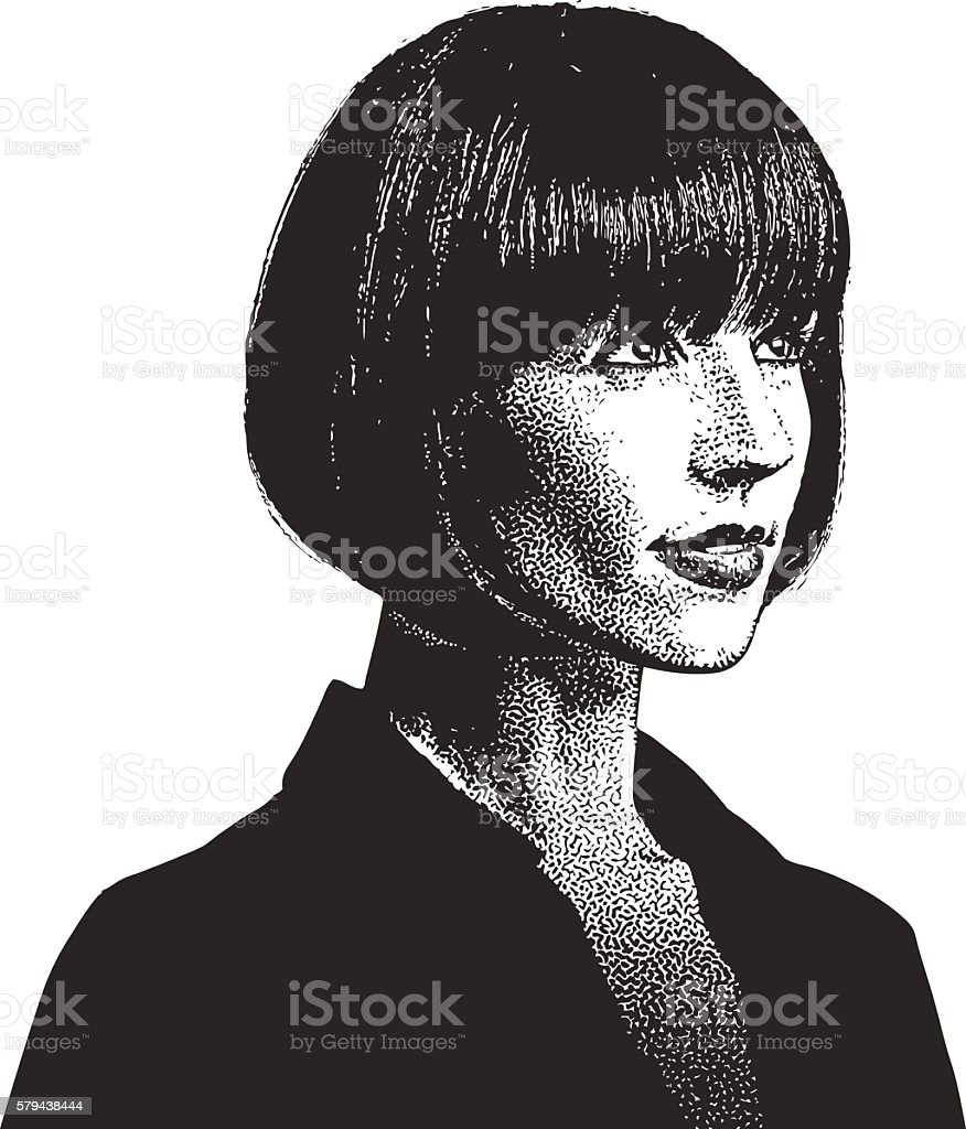 Pensive Businesswoman Thinking and Planning vector art illustration