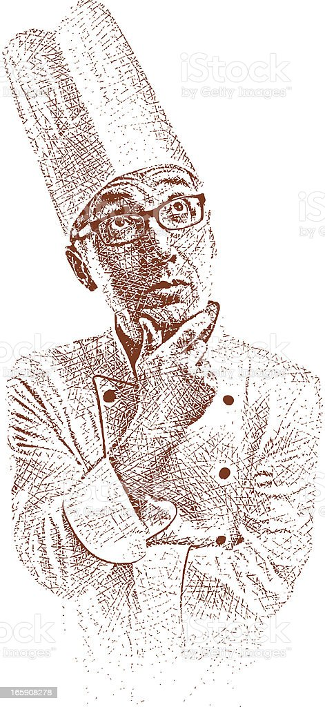Pensive Chef royalty-free stock vector art