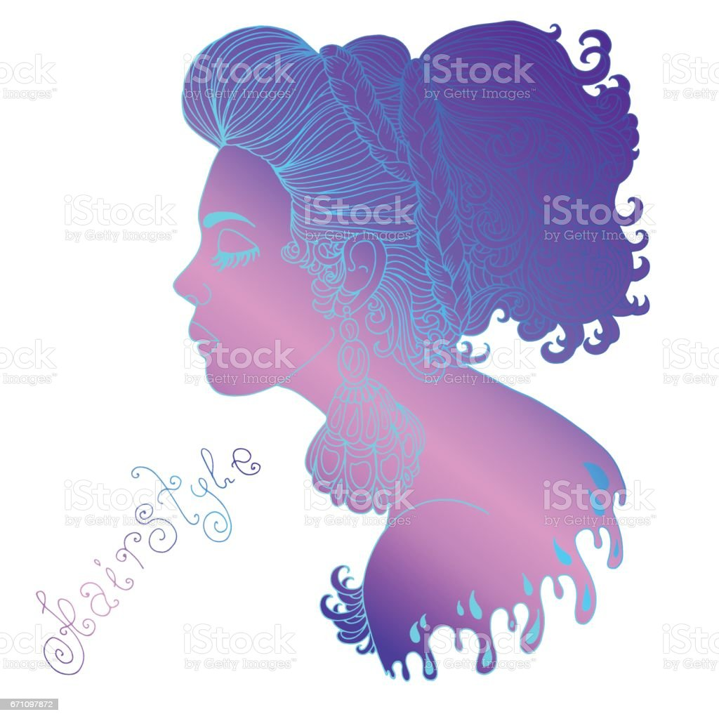 Pensive girl with big patterned earrings and a braided hair braid vector art illustration