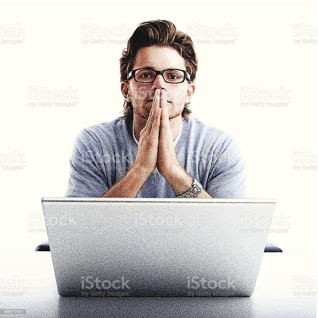 Pensive Man and Computer royalty-free stock vector art