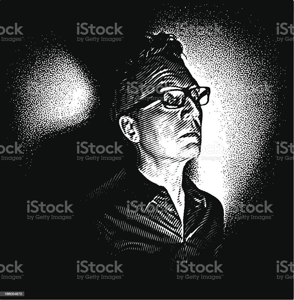 Pensive Man, Film Noir Style royalty-free stock vector art