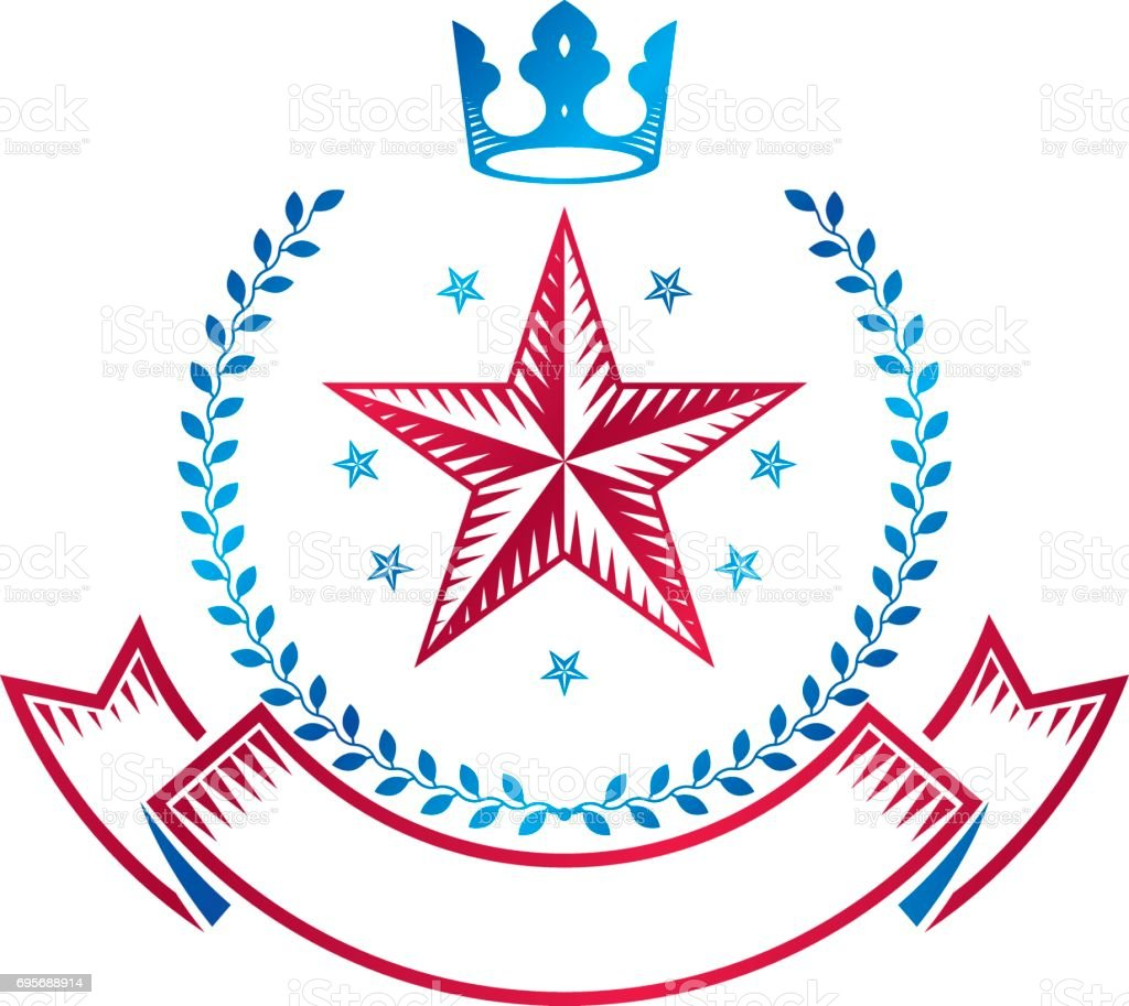 Pentagonal Stars emblem decorated using imperial crown and laurel wreath, union theme symbol. Heraldic Coat of Arms, vintage vector. vector art illustration