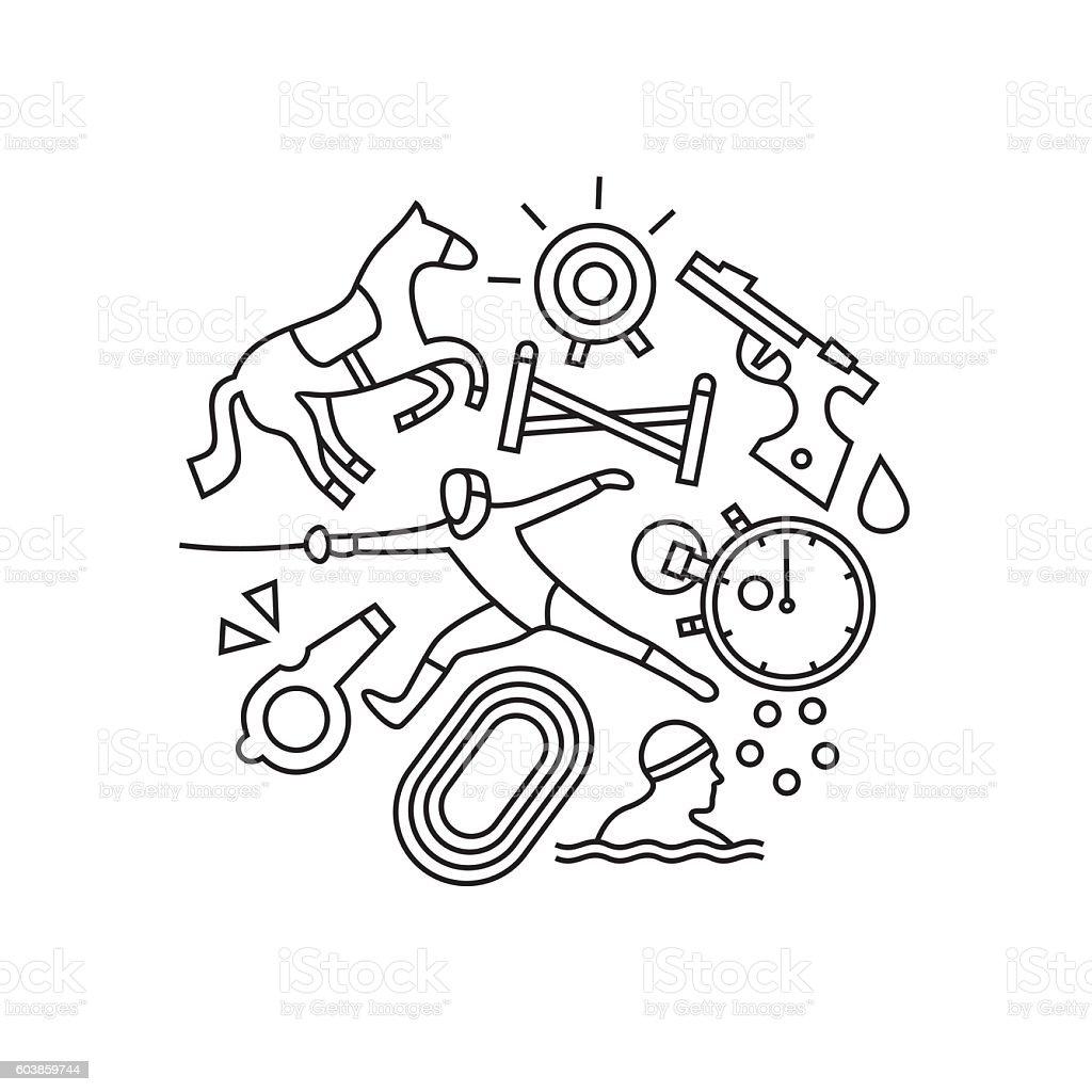 Pentathlon set of vector illustration vector art illustration