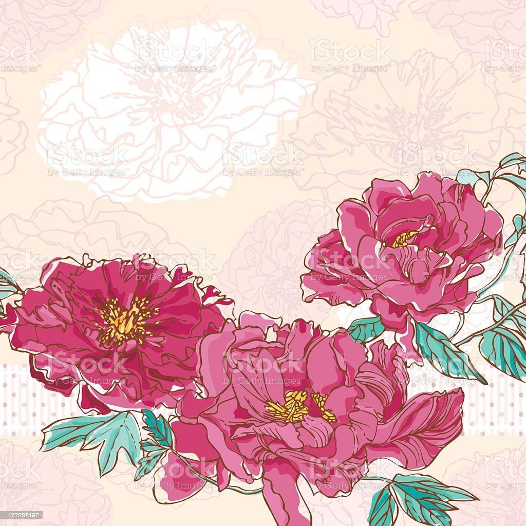 Peonies Wedding Background vector art illustration