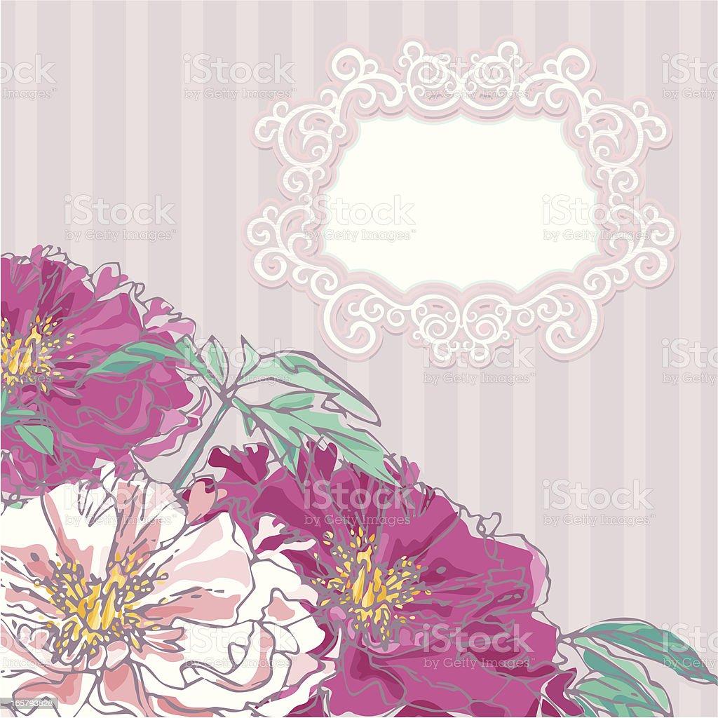 Peonies Wedding Invitation vector art illustration