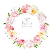Peony, wild rose, orchid, carnation, camellia vector design round frame.