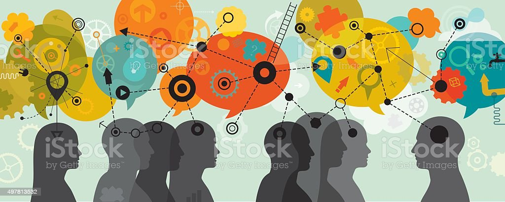People 3D Thinking Mind Mapping Linear vector art illustration