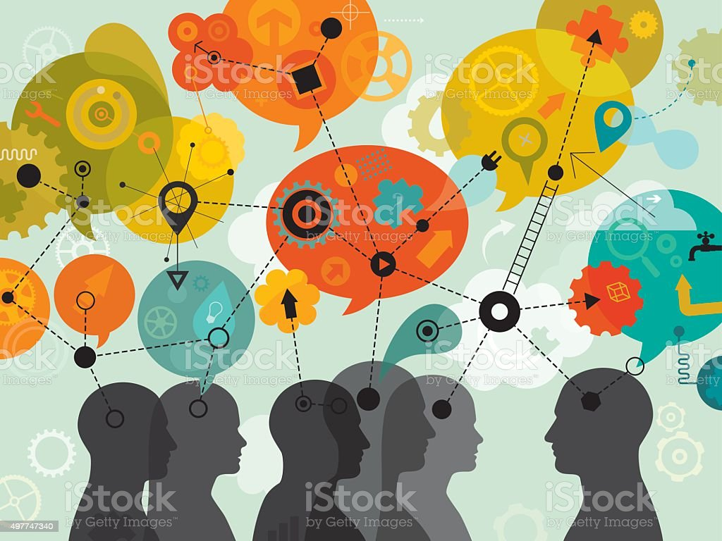 People 3D Thinking Mind Mapping vector art illustration