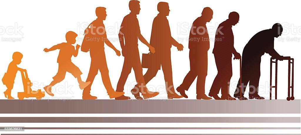 People Aging Process - Set of Figures vector art illustration