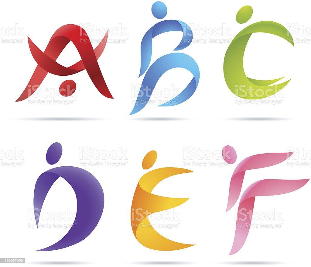 People alphabet vector art illustration
