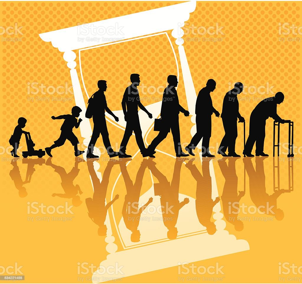 People and Aging Process with Hourglass vector art illustration