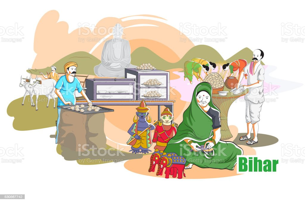 People and Culture of Bihar, India vector art illustration