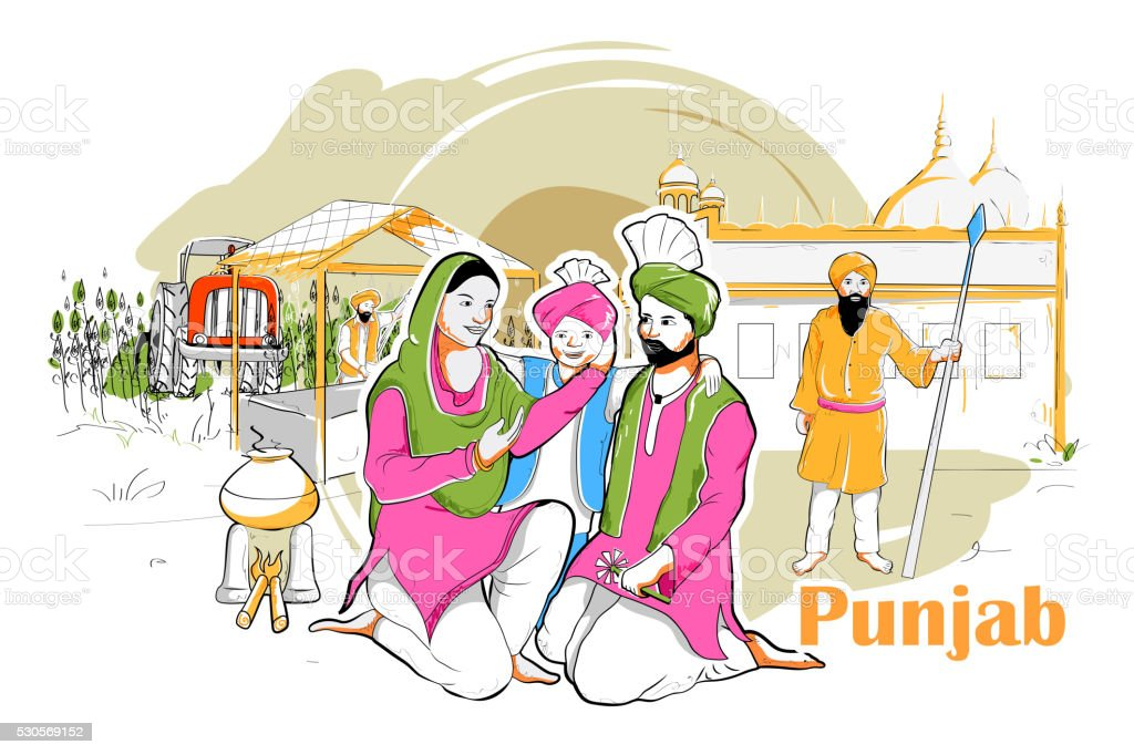 People and Culture of Punjab, India vector art illustration