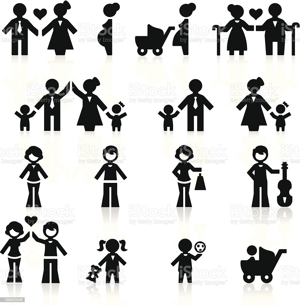 People and family vector art illustration