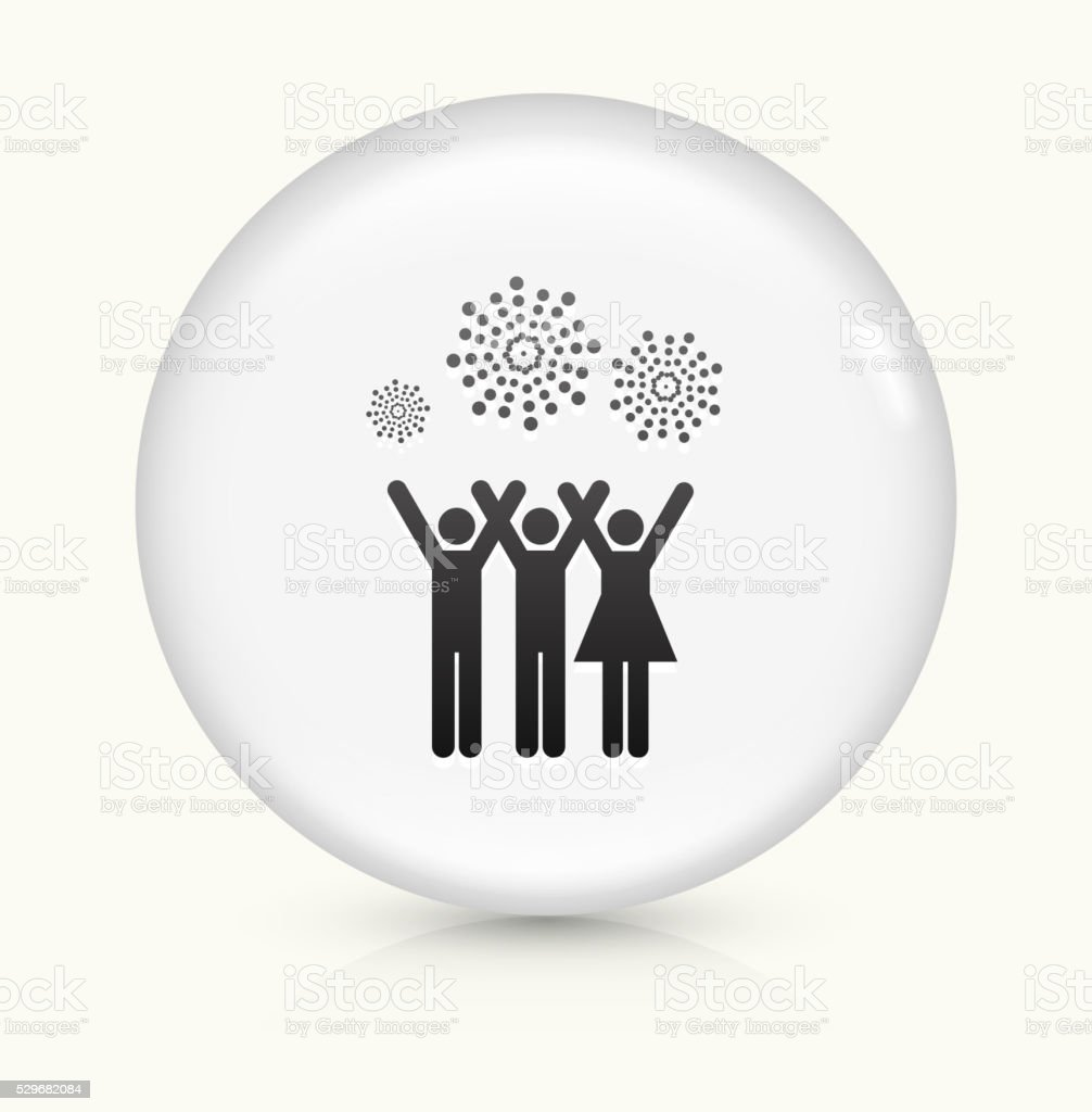 People and Fireworks icon on white round vector button vector art illustration