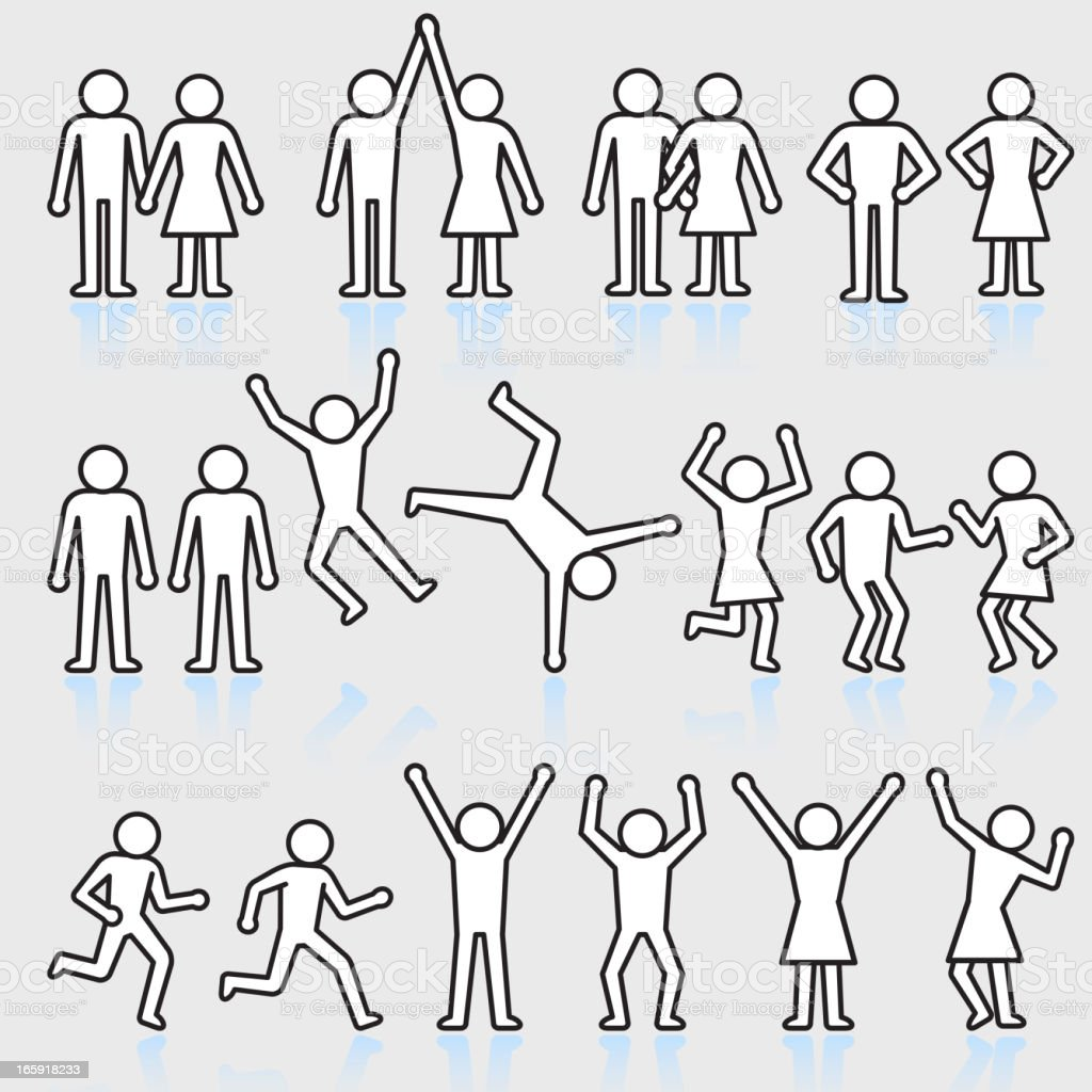 People and party stick figure royalty free vector icon set vector art illustration