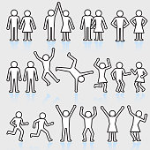 People and party stick figure royalty free vector icon set