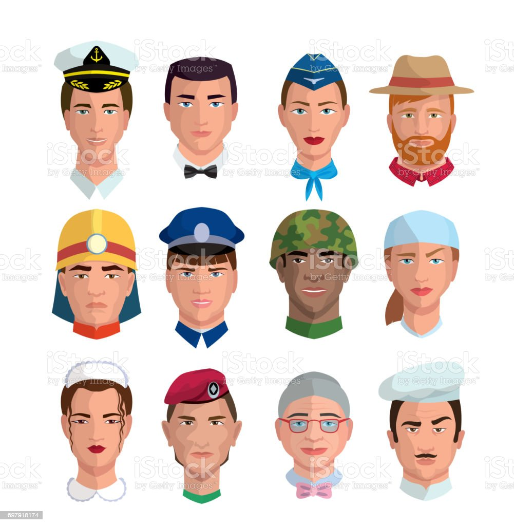 People and professions. Colored characters vector art illustration