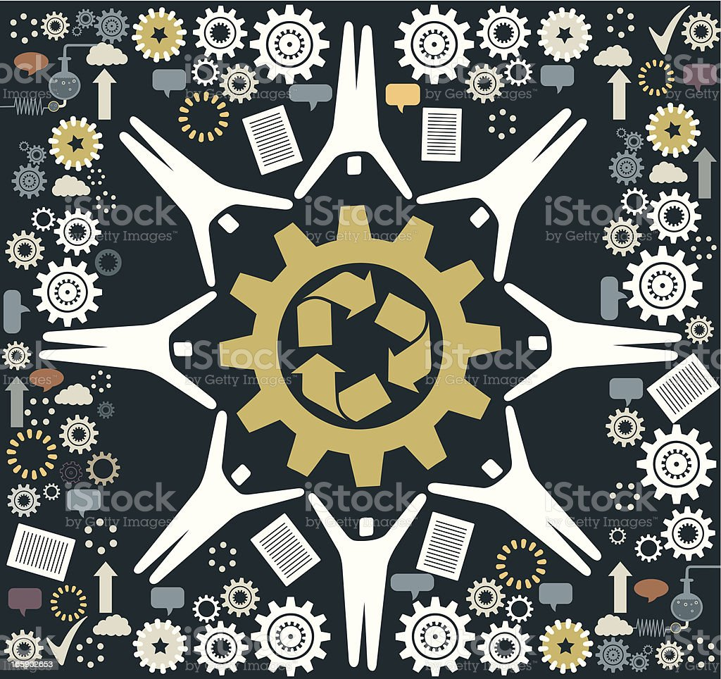 People and Recycling royalty-free stock vector art