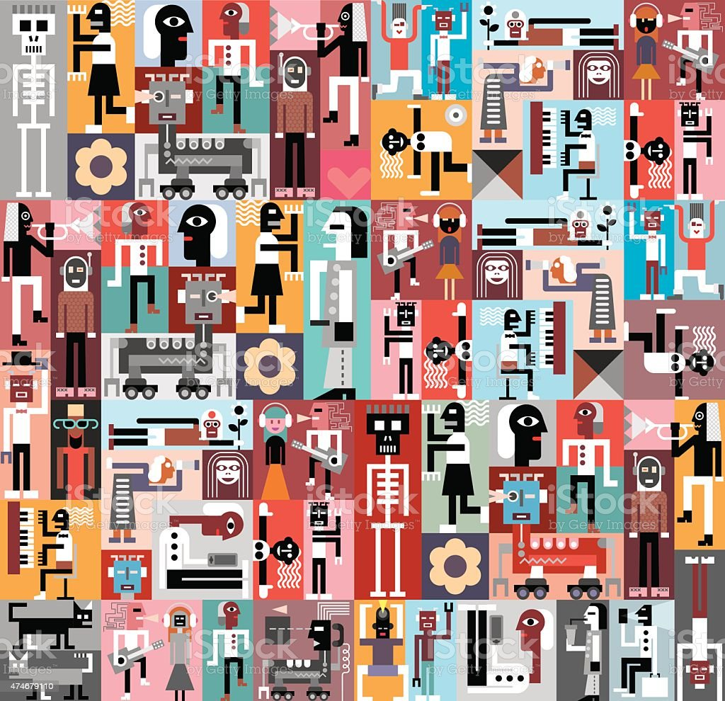 People and Robots vector art illustration