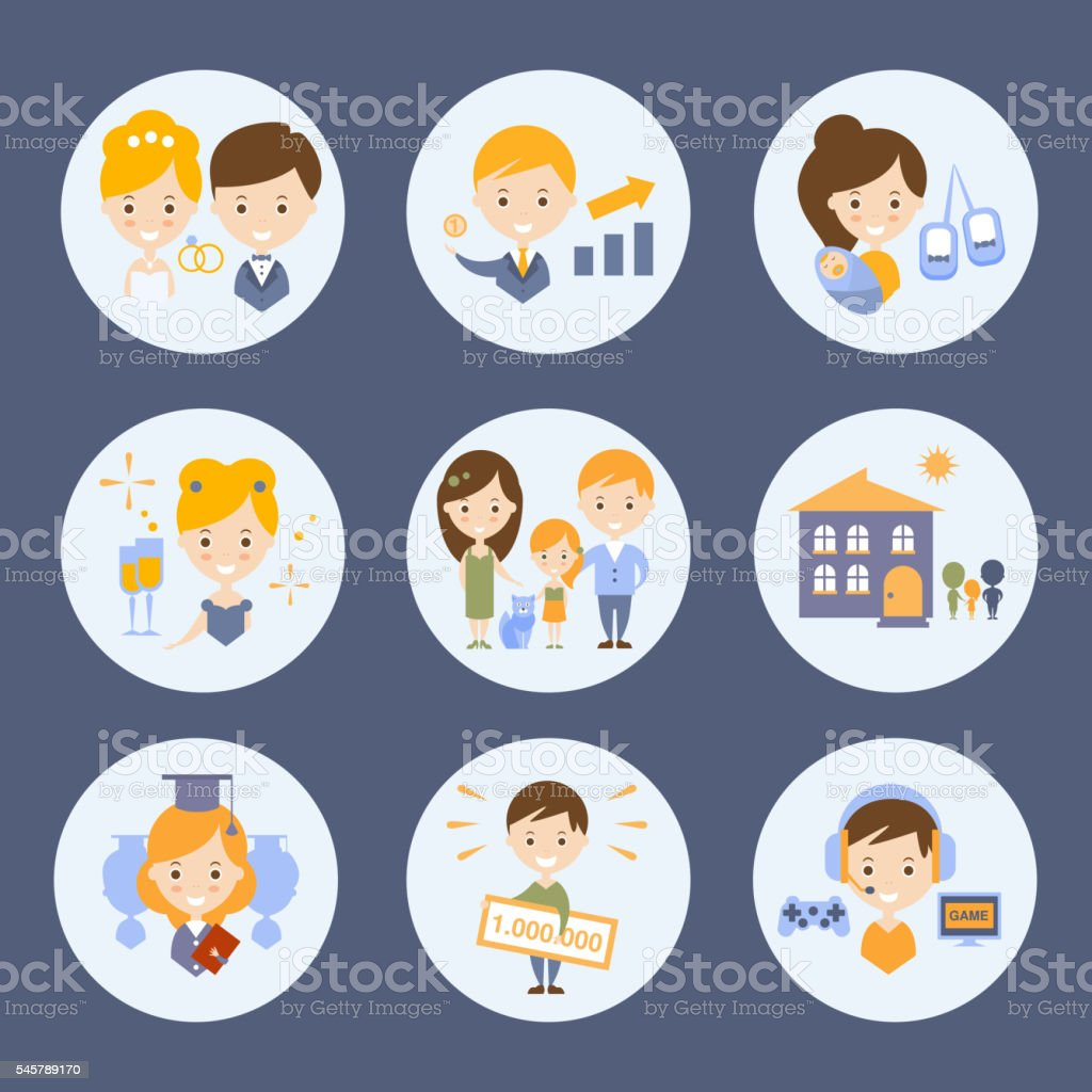 People And Their Ideas Of Happiness Set vector art illustration