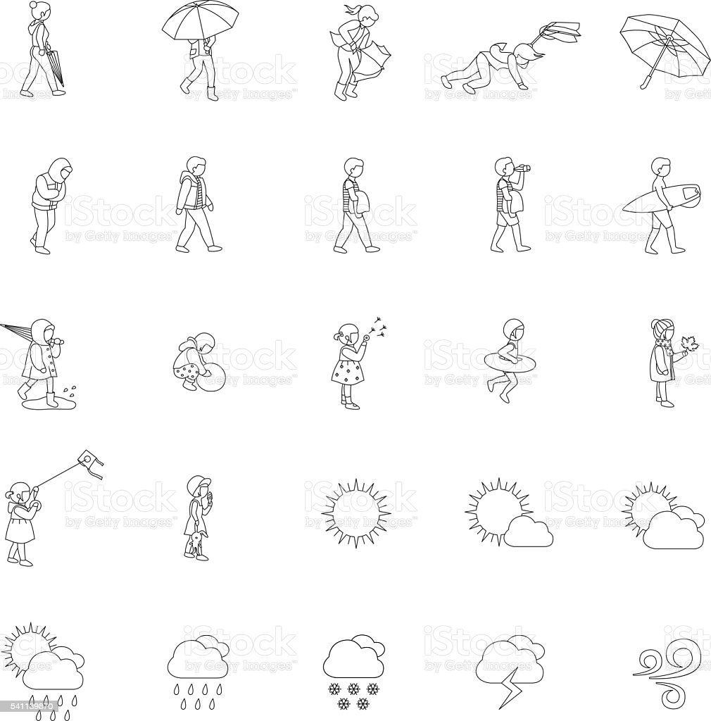 People and Weather outlines vector icons vector art illustration