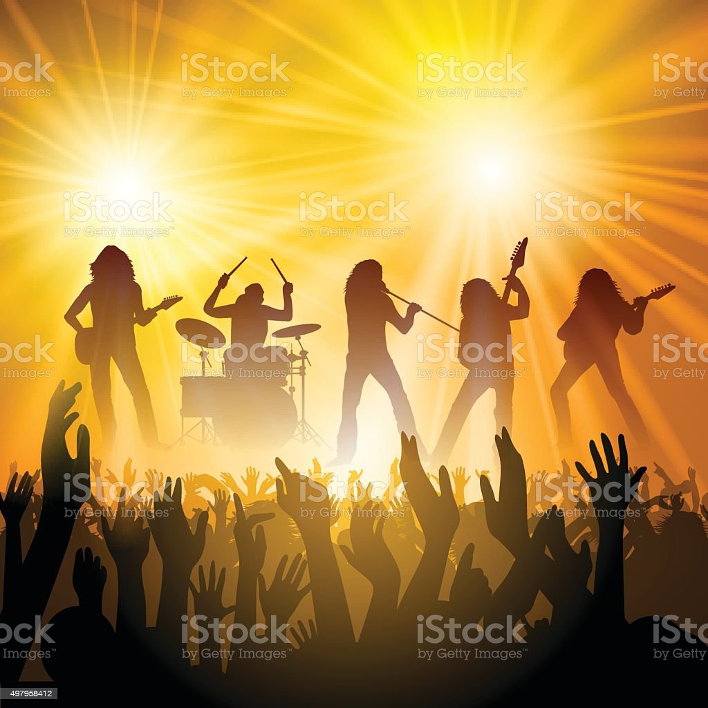 People at a concert vector art illustration