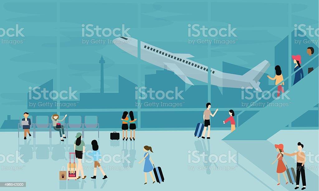 people at airport vector travel activities illustration  departure arrival  flight vector art illustration