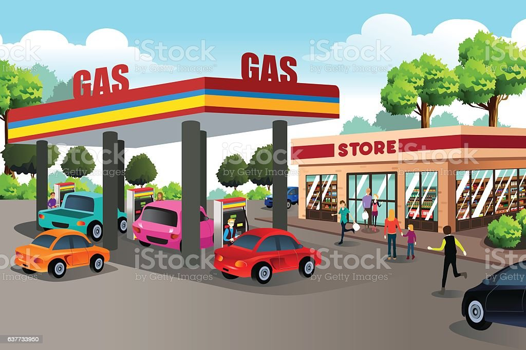 People at Gas Station and Convenience Store vector art illustration