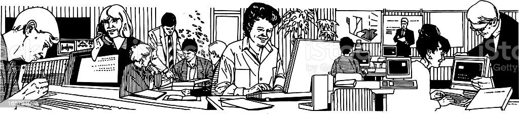 People at the office vector art illustration