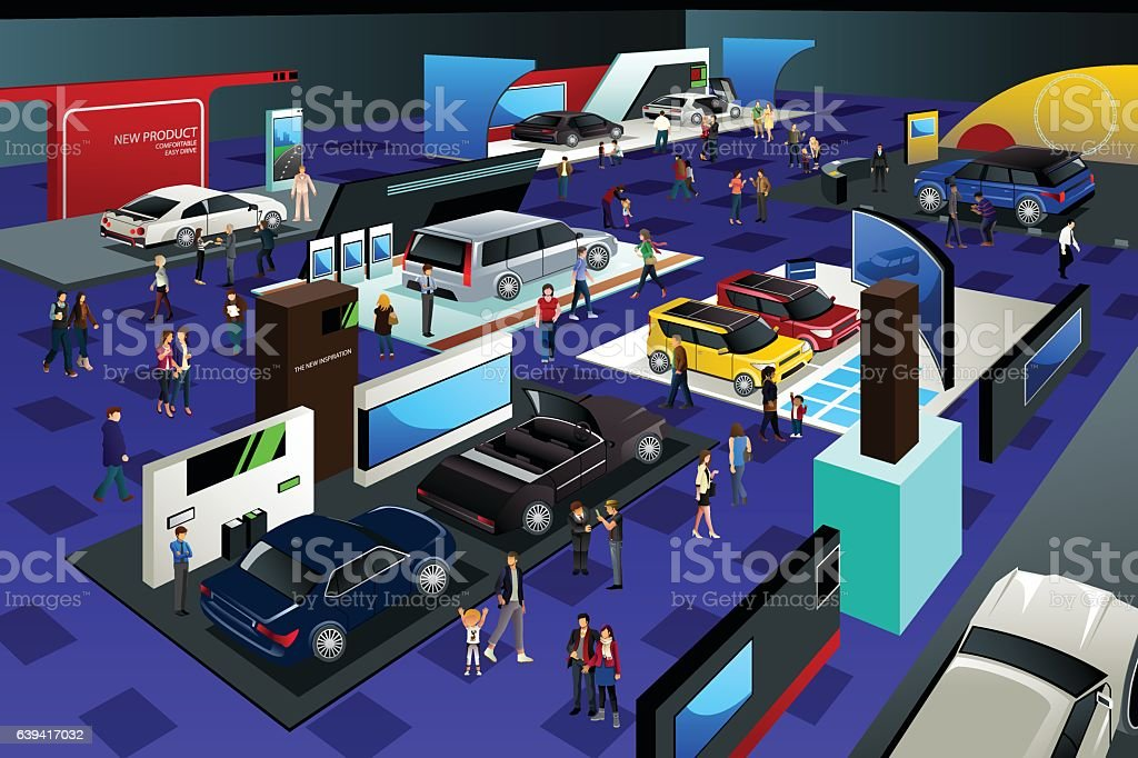 People Attending an Auto Show vector art illustration