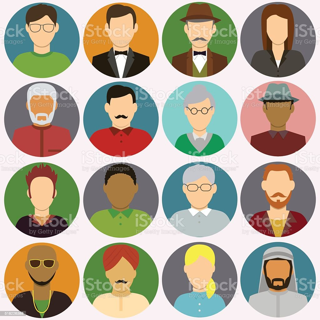 People avatar icons. People Flat Icons. Vector royalty-free stock vector art