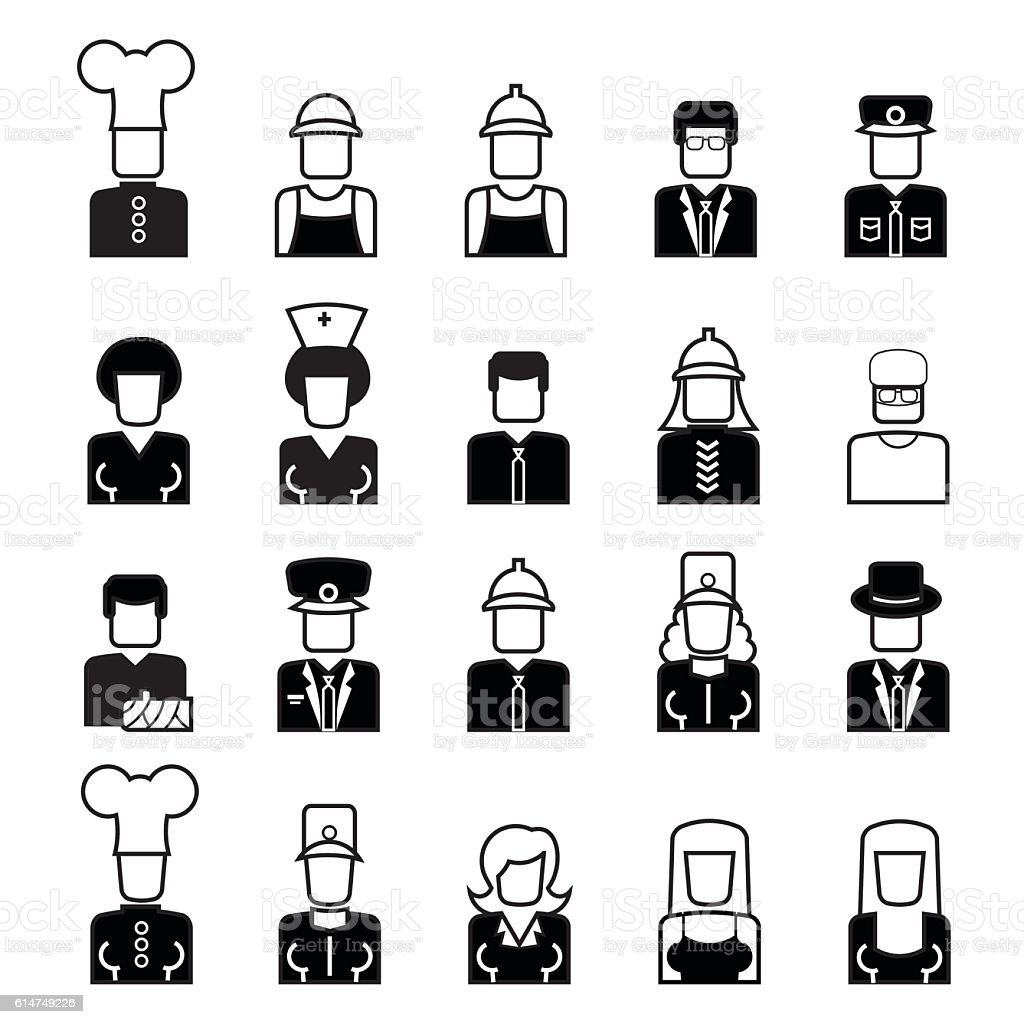People avatar line icons vector art illustration