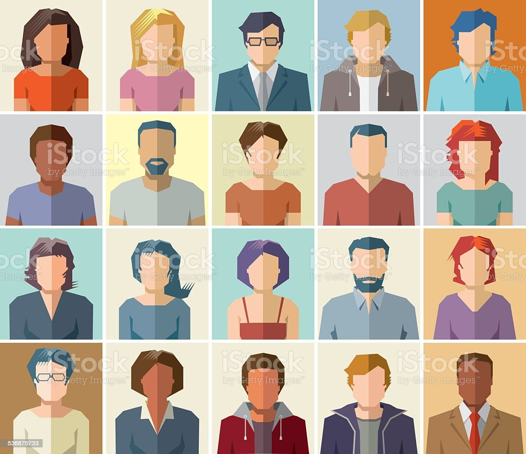 People avatar vector icons vector art illustration