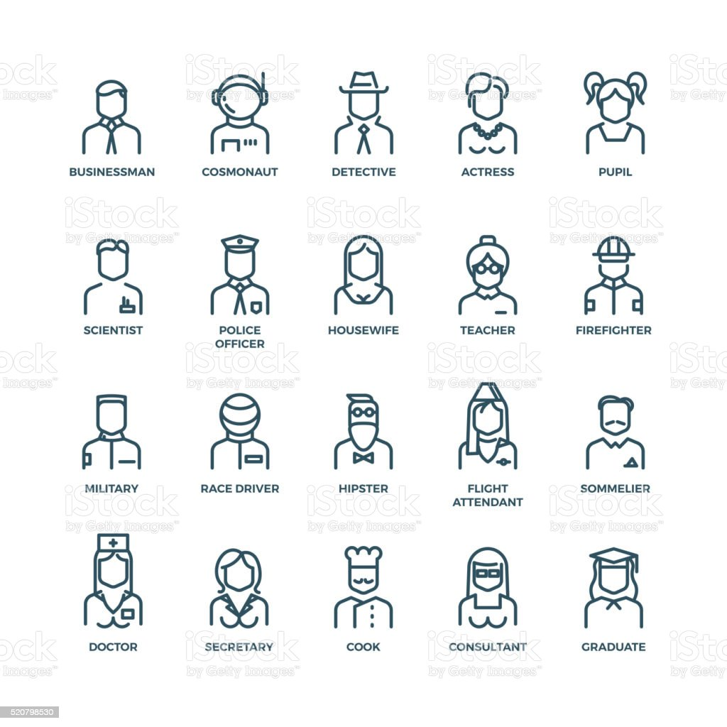 People avatars, characters staff, professions. Vector linear icons vector art illustration
