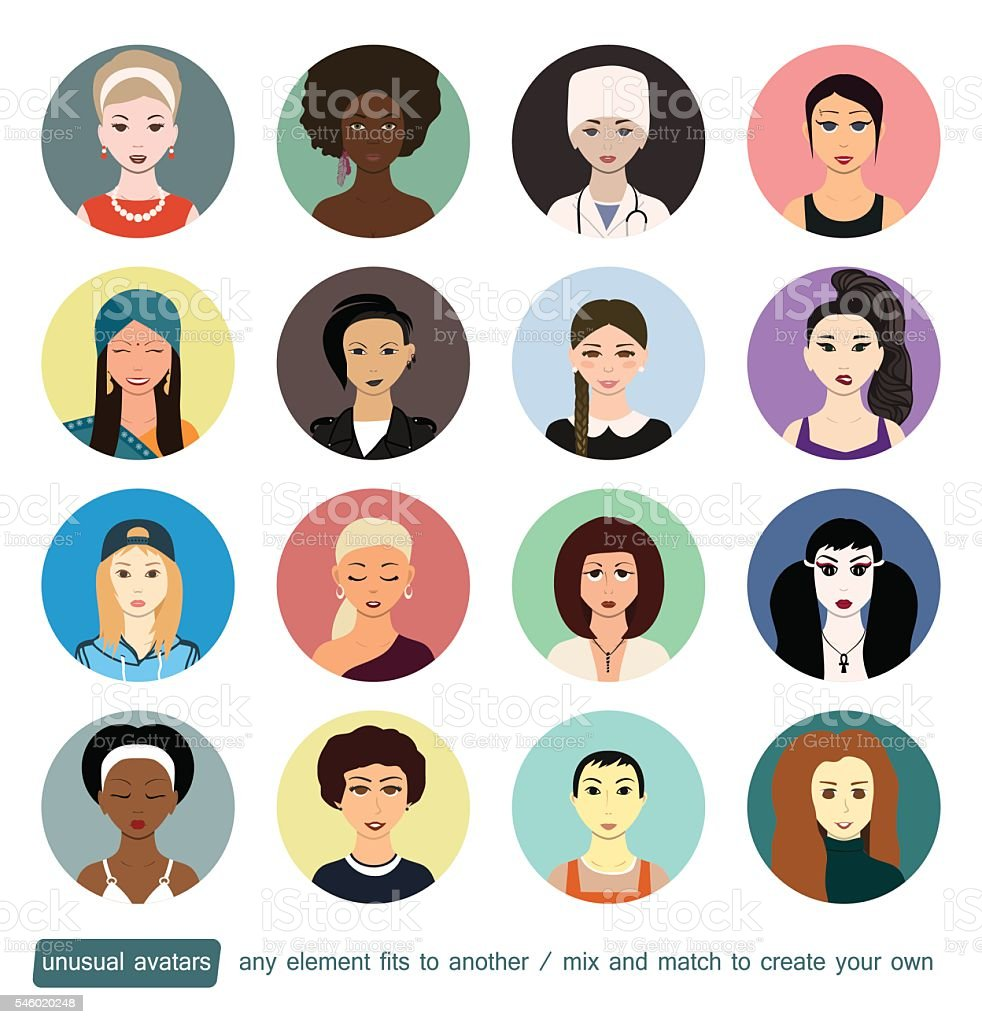 People avatars collection. Girls, womans in different social roles. Every vector art illustration