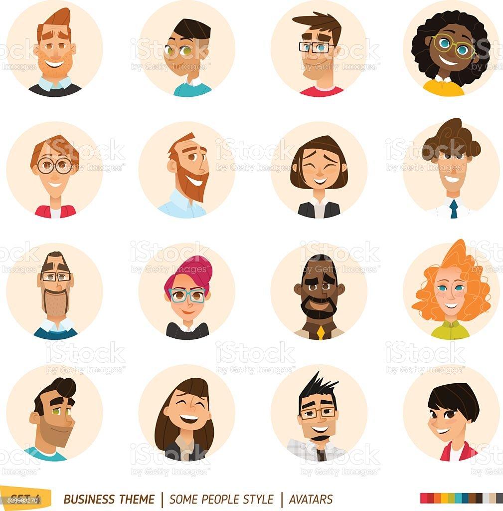 People avatars collection vector art illustration