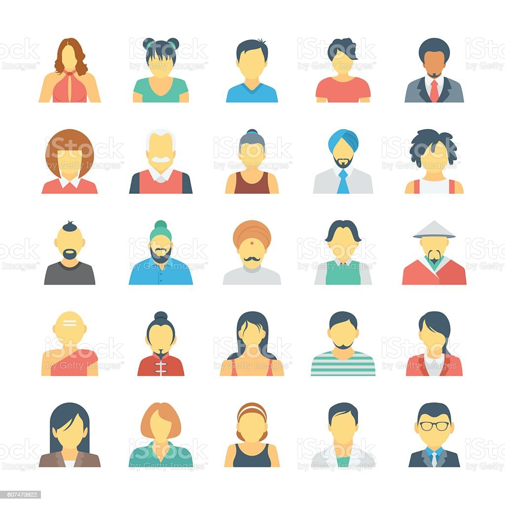 People Avatars Colored Vector Icons 3 vector art illustration