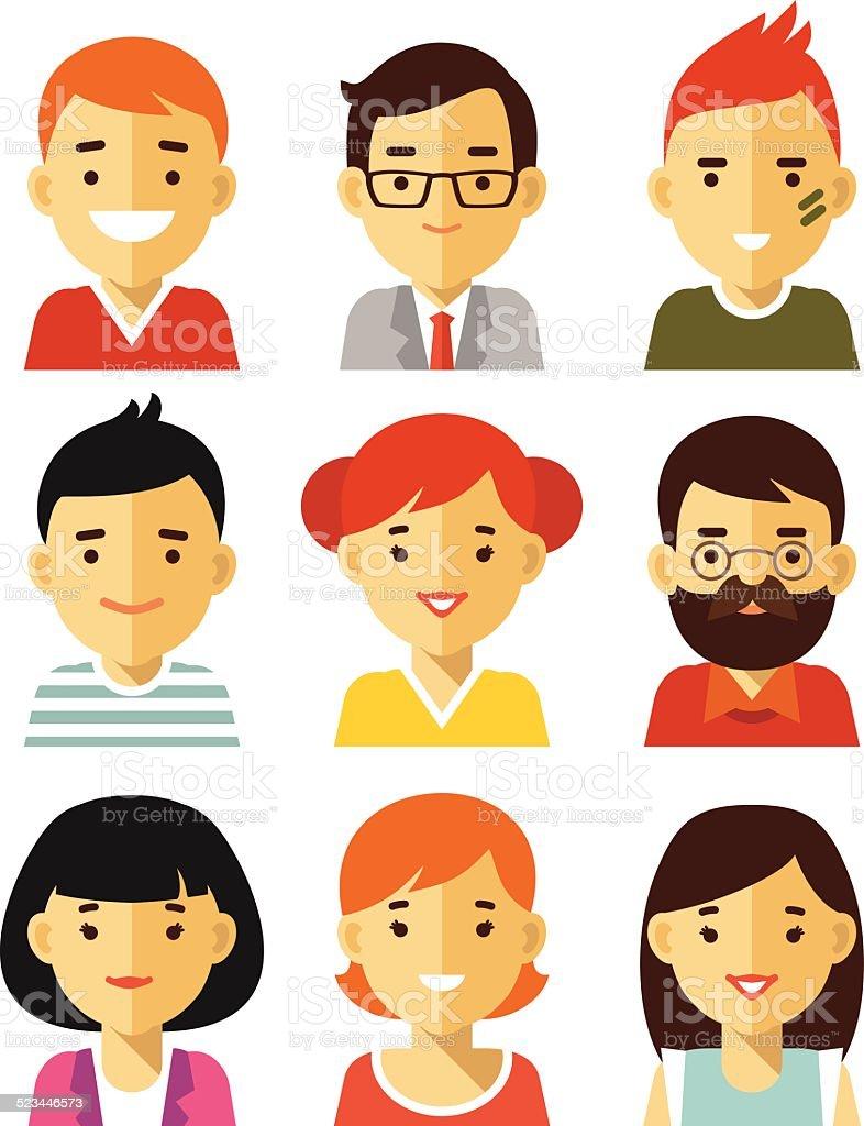 People avatars in flat style vector art illustration