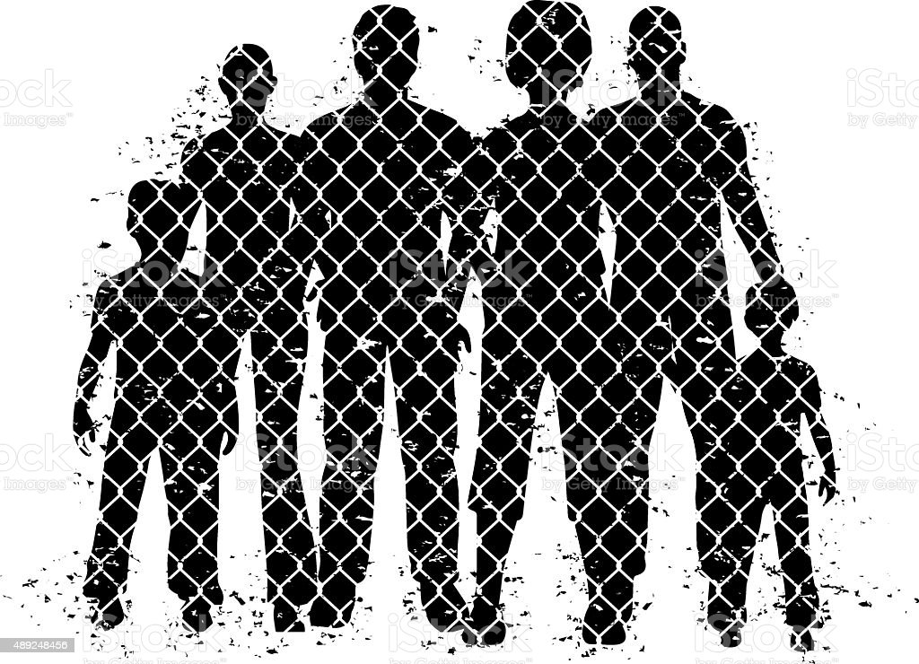 people behind wire fence vector art illustration