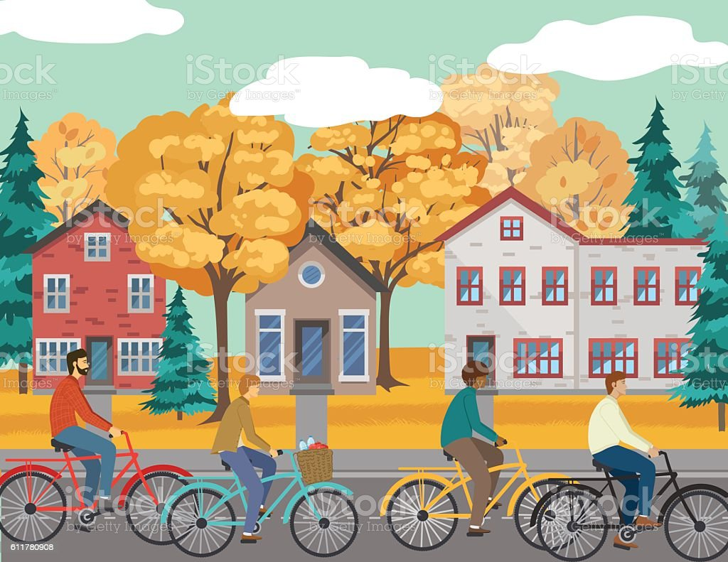 People Bicycling Through The City vector art illustration