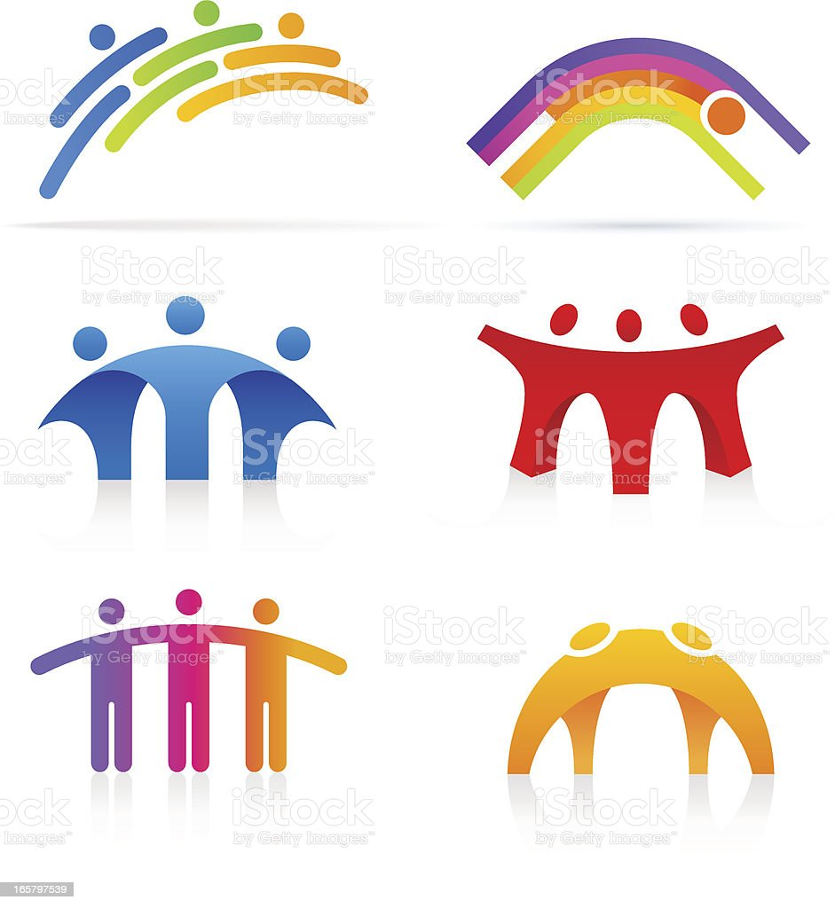 People Bridge vector art illustration
