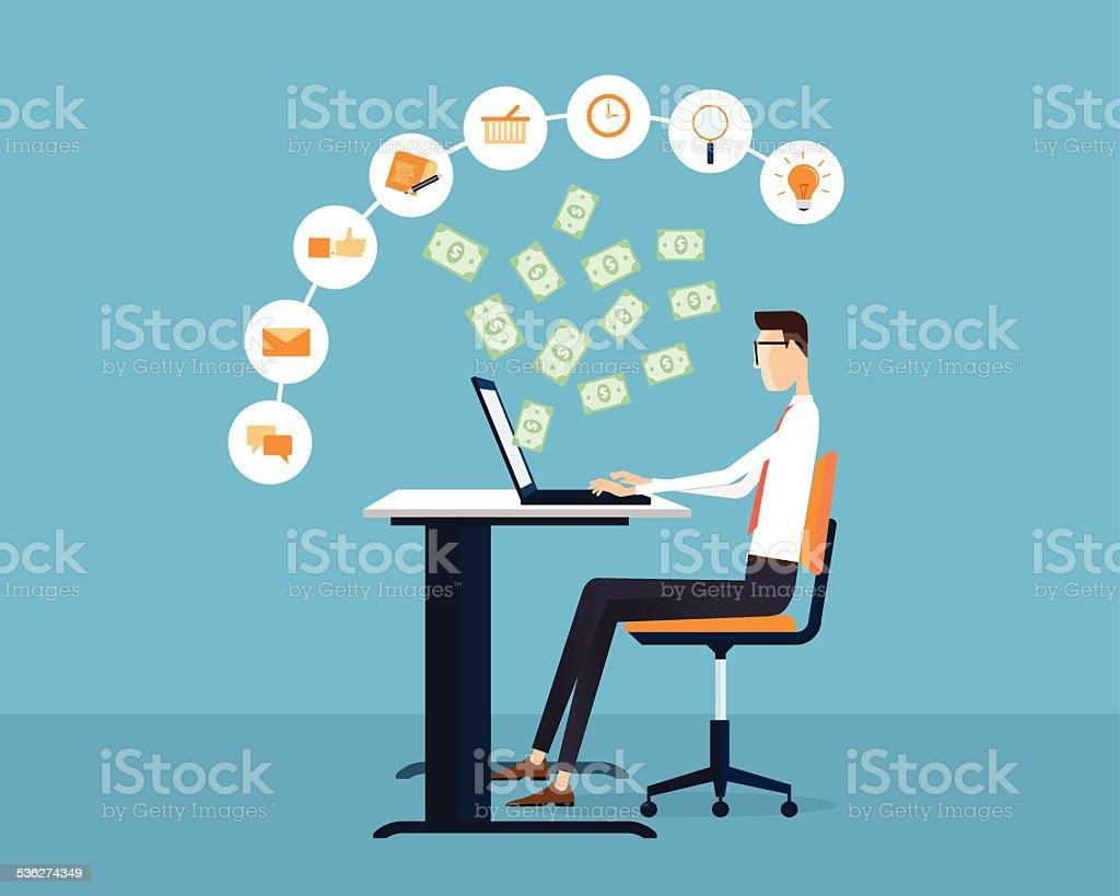 people business making earning online idea concept background vector art illustration