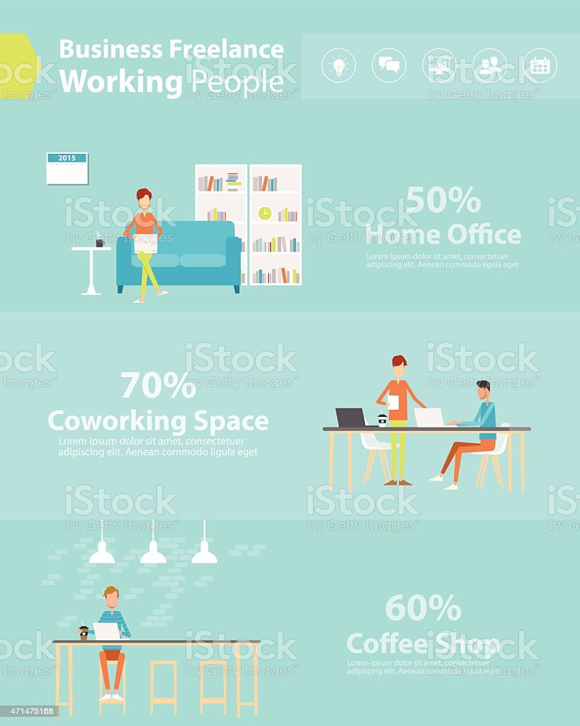 people business working style .flat cartoon character vector art illustration