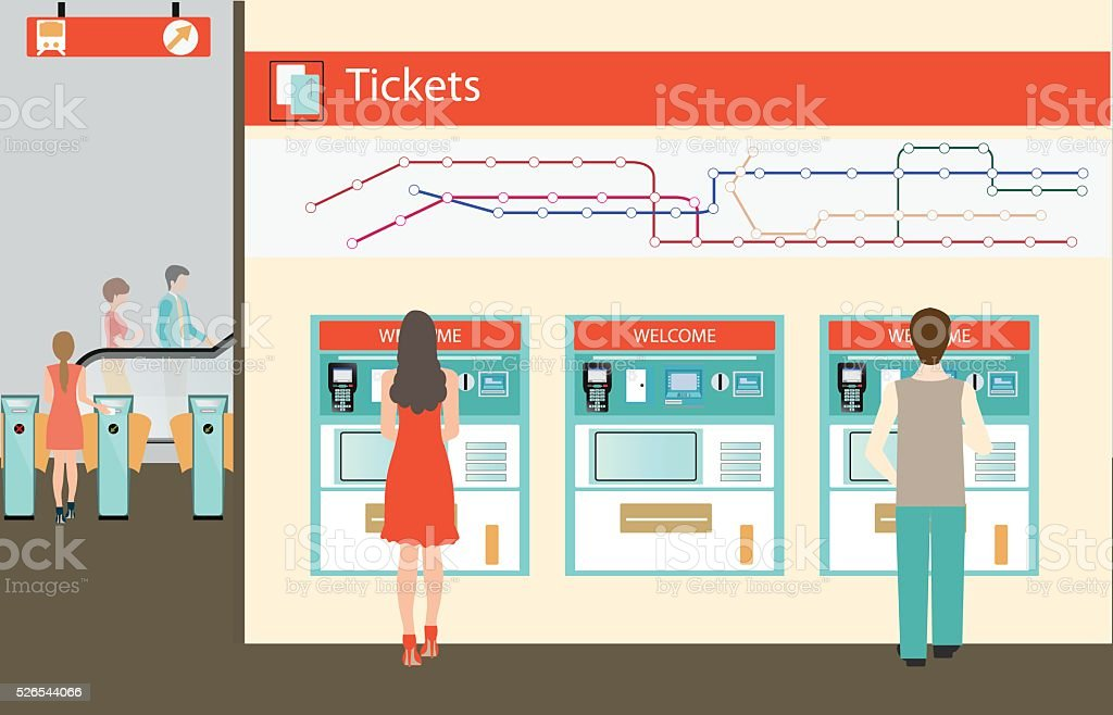 People  buying a ticket for the train. vector art illustration