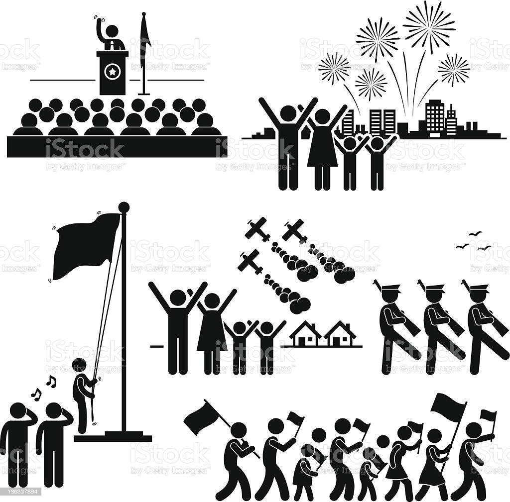 People Celebrating National Day Independence Patriotic Holiday Pictogram royalty-free stock vector art